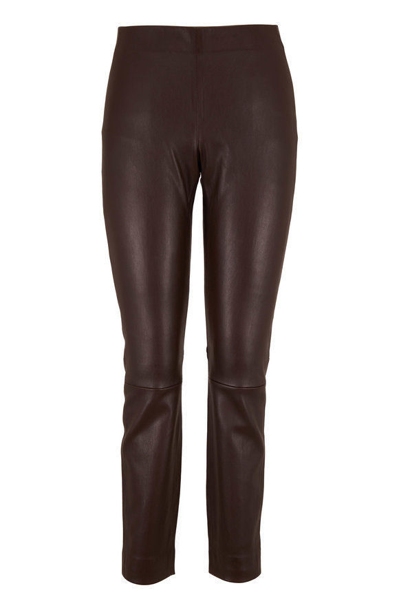 Vince Chocolate Leather Stitch Back Legging