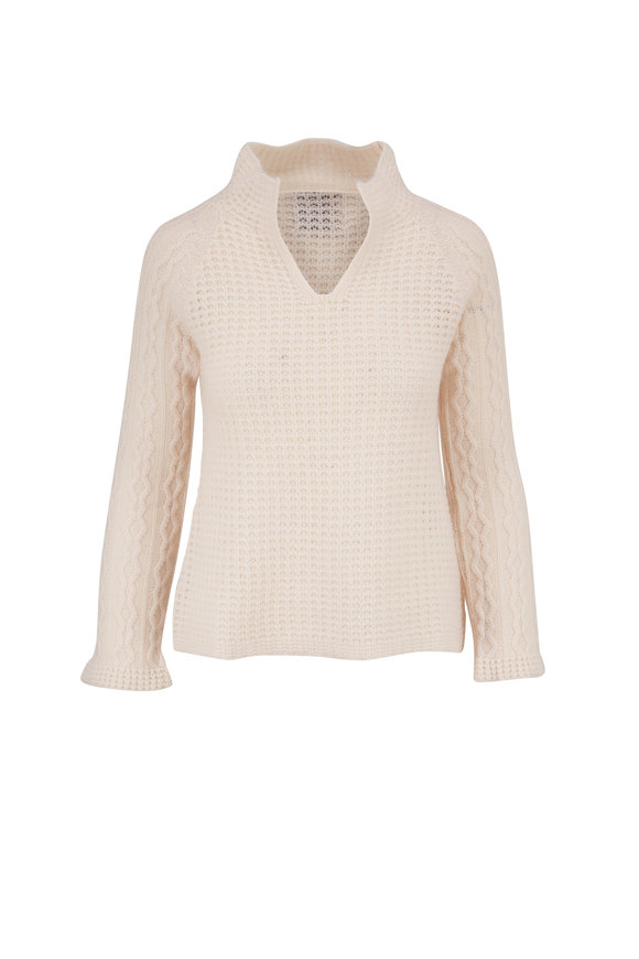 Jumper 1234 Ivory Cashmere V-Neck Sweater