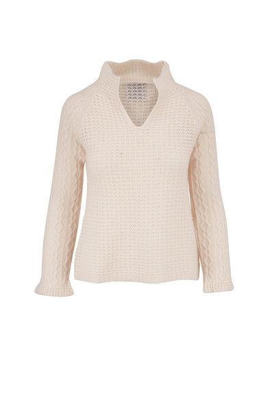 Jumper 1234 - Ivory Cashmere V-Neck Sweater