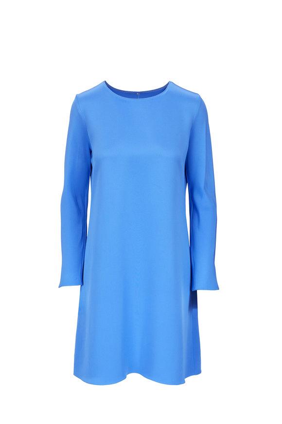 Peter Cohen Tour Medium Blue Silk Long Sleeve Dress