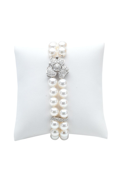 Assael - Two Row Pearl White Gold Diamond Bracelet