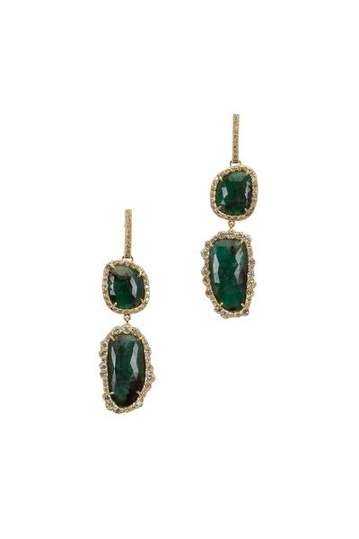 Kimberly McDonald - Yellow Gold Emerald & Diamond Dangle Earrings