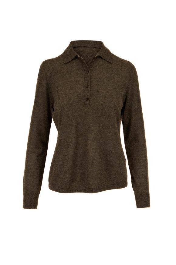 Nili Lotan Army Green Cashmere Polo Sweater