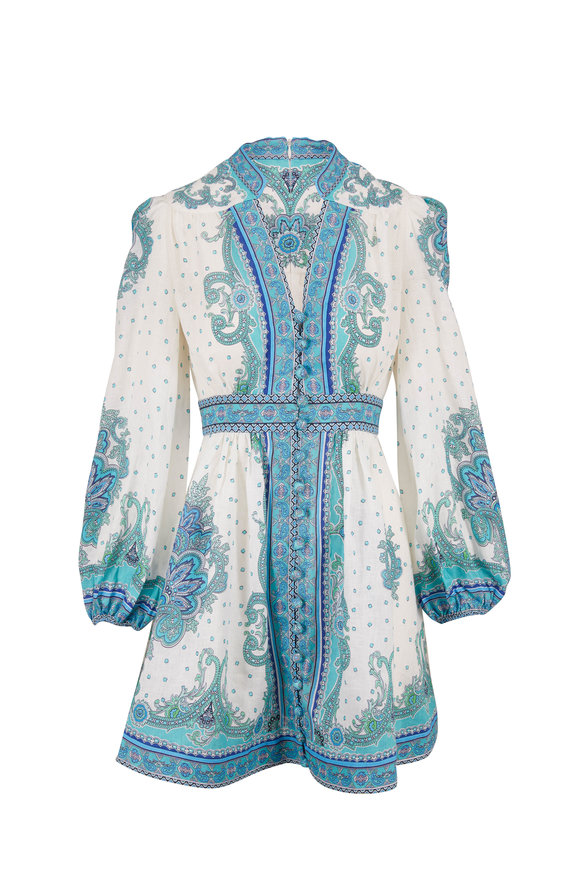 Zimmermann Bells Blue Paisley Short Dress