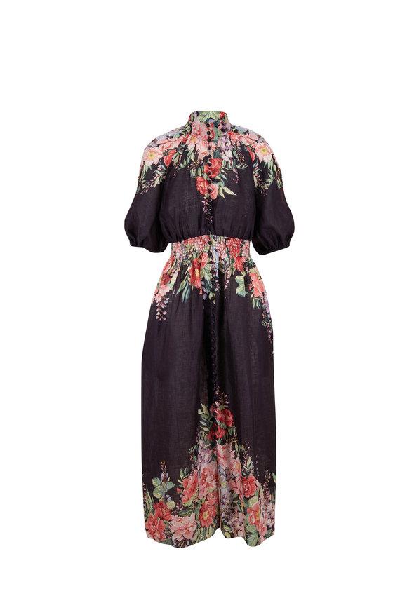 Zimmermann Bellitude Black Floral Linen Maxi Dress