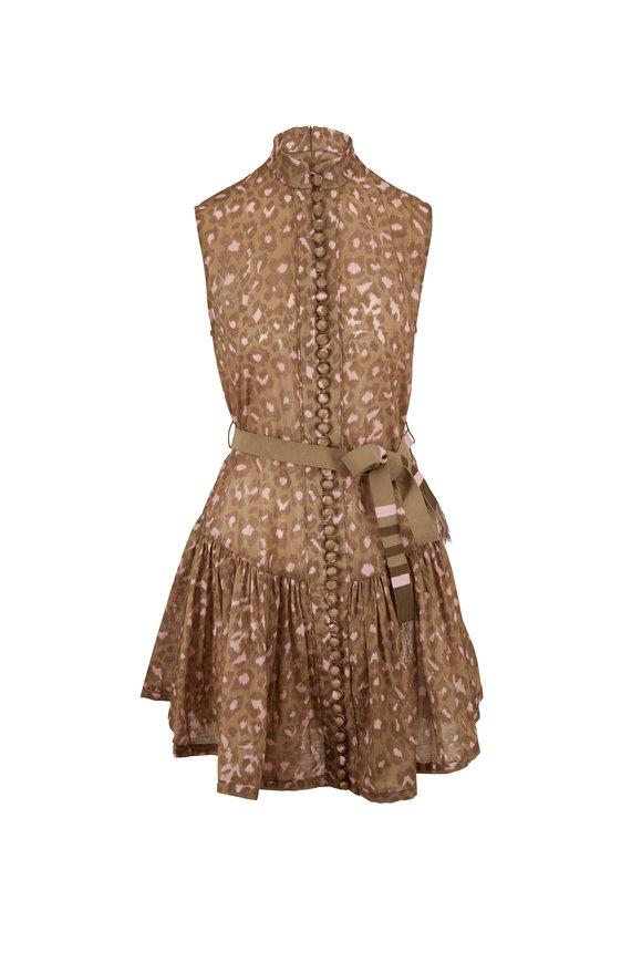 Zimmermann Carnaby Khaki Leopard Waist Short Dress