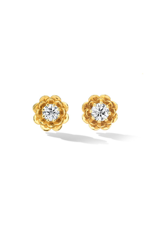 Cadar Yellow Gold Diamond Trio Stud Earrings