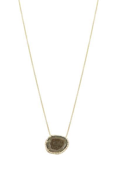 Kimberly McDonald - Gold Green Geode White Diamond Pendant Necklace