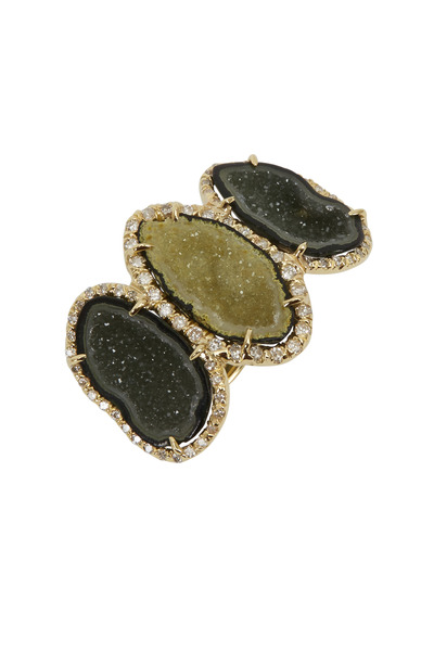 Kimberly McDonald - Yellow Gold Triple Geode White Diamond Ring