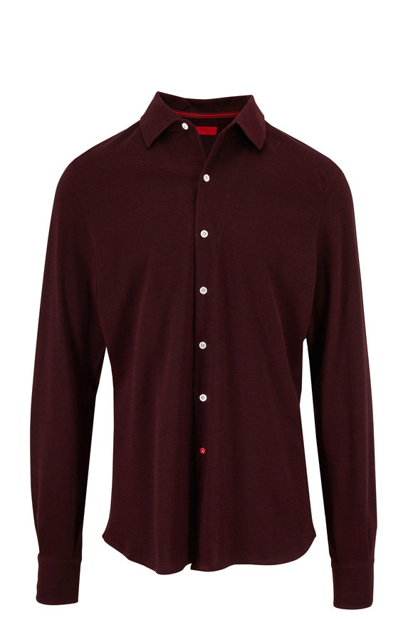 Isaia Burgundy Piqué Long Sleeve Polo