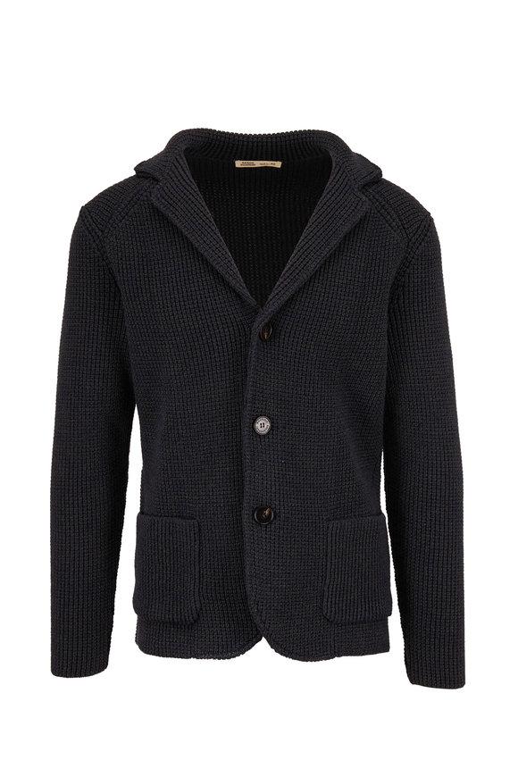 Maurizio Baldassari Navy Wool Sweater Jacket