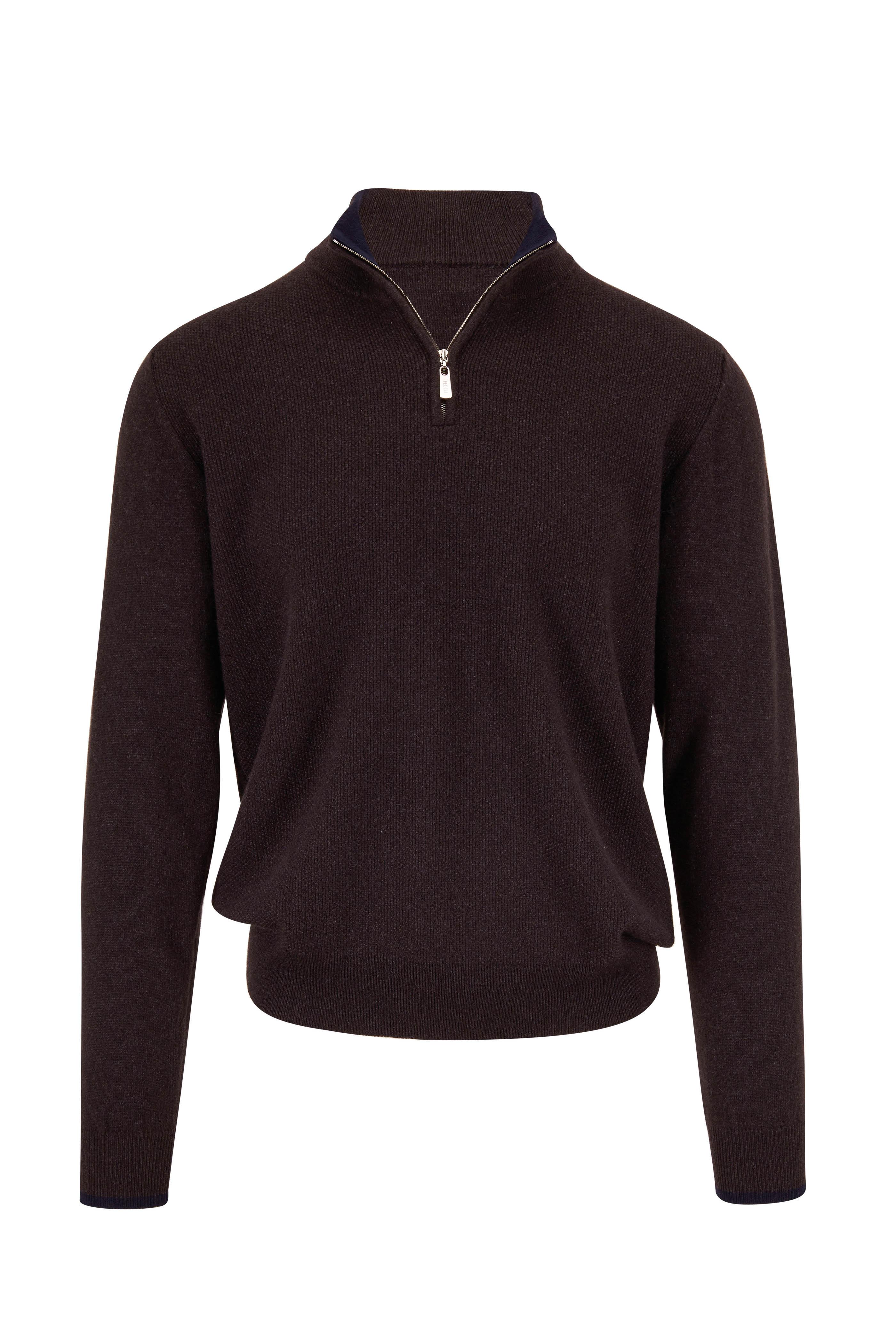 Fedeli Brown Textured Cashmere Quarter Zip Pullover