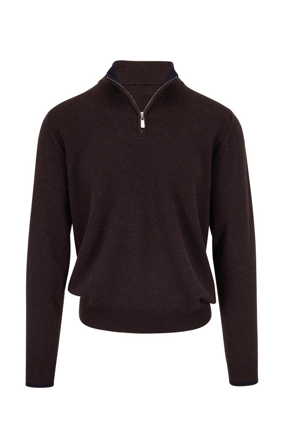 Fedeli Brown Textured Cashmere Quarter-Zip Pullover