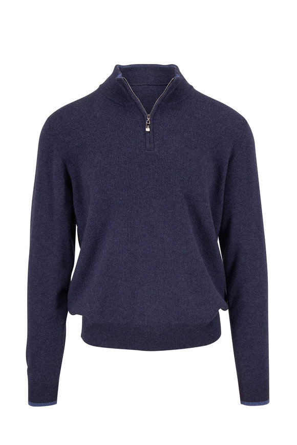 Fedeli Dark Blue Textured Cashmere Quarter-Zip Pullover
