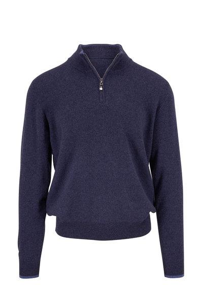 Fedeli - Dark Blue Textured Cashmere Quarter-Zip Pullover