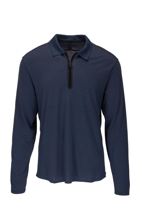 Orlebar Brown Sebastian Gray Technical Quarter-Zip Polo