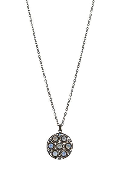 Loriann - Round Moonstone Black & White Diamond Pendant