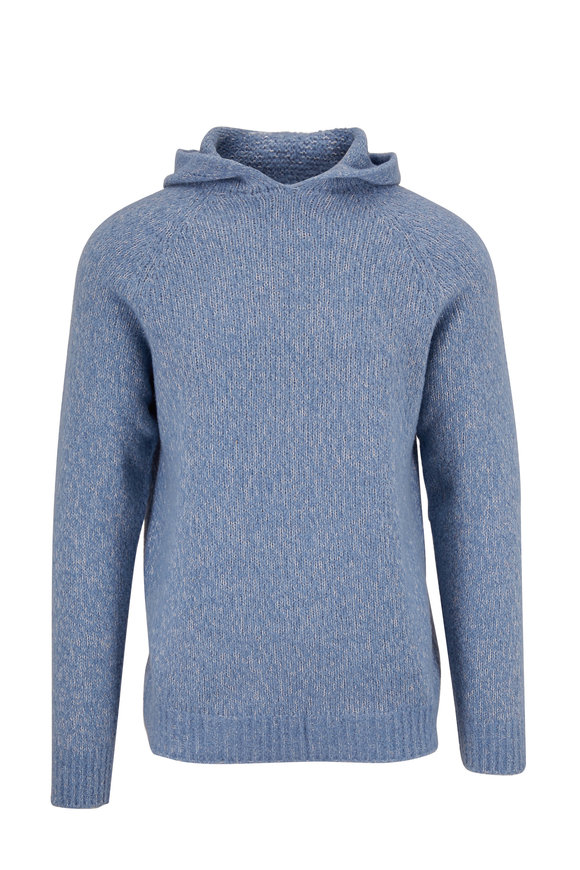 04651/ Blue Chunky Knit Hoodie