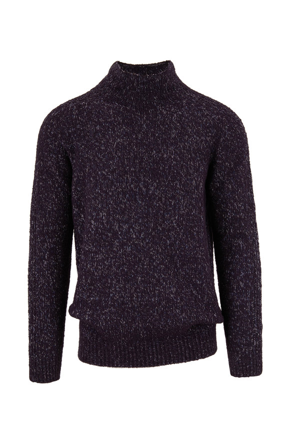 04651/ Navy Chunky Turtleneck Pullover