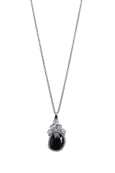 Loriann - Quartz Black & White Diamond Pendant Necklace