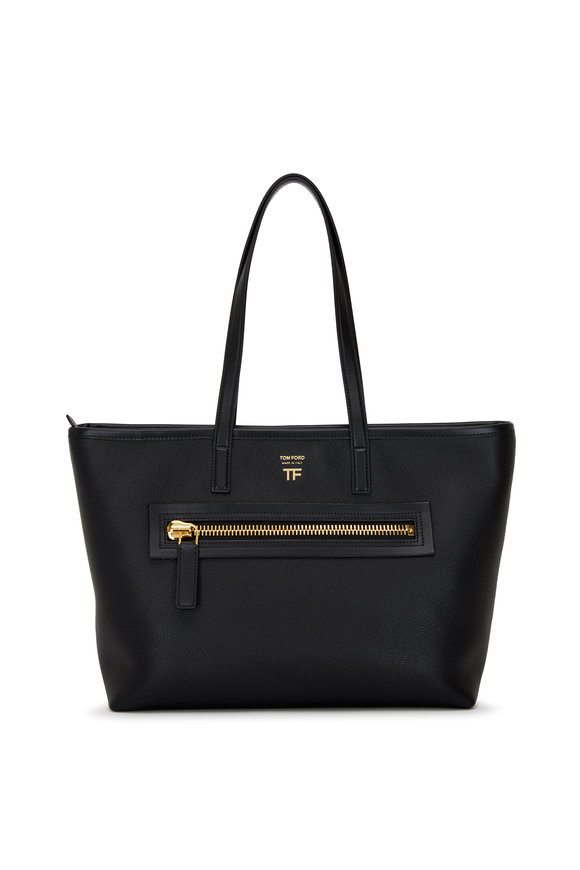 Tom Ford Zip Black Leather Medium Tote Bag