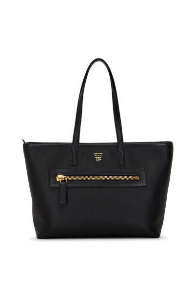 Tom Ford - Zip Black Leather Medium Tote Bag