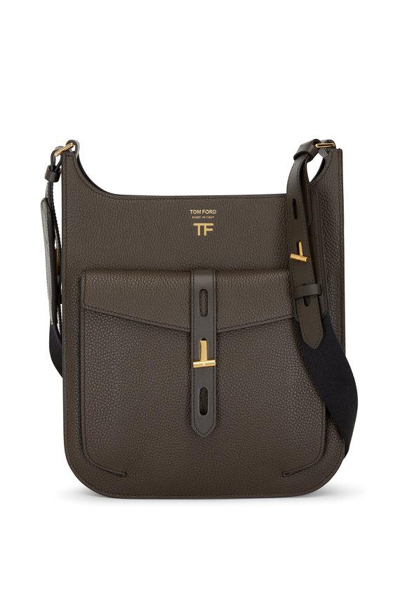 Tom Ford T Twist Derby Green Leather Medium Crossbody Bag