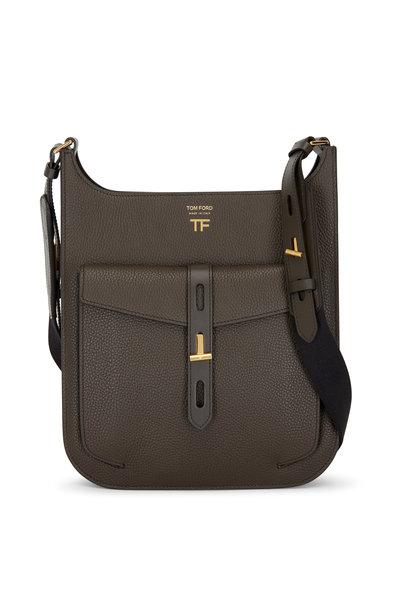 Tom Ford - T Twist Derby Green Leather Medium Crossbody Bag