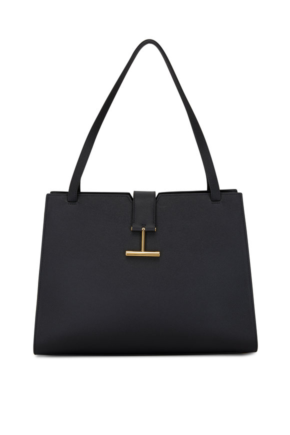 Tom Ford Tara Black Grain Leather Large Shoulder Bag