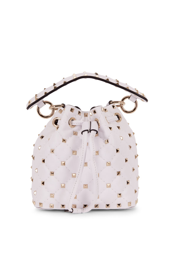 Valentino Garavani Rockstud White Leather Mini Bucket Bag