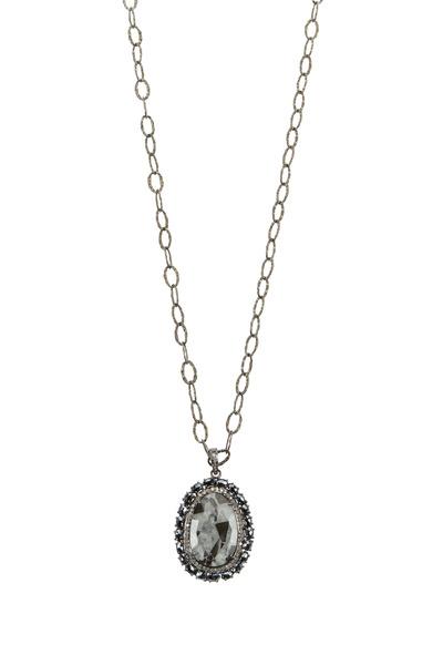 Loriann - Dalmatian Rhodium Oval Loop Necklace