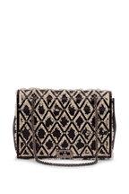 Valentino Garavani - Black Leather & Shearling Cage Shoulder Bag