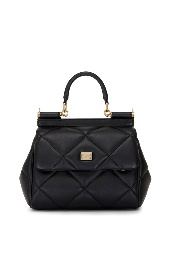 Dolce & Gabbana Sicily Black Leather Small Essential Bag
