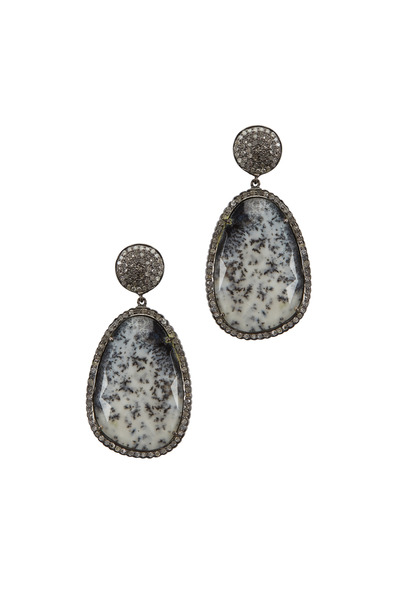 Loriann - Rhodium Silver Dalmatian Opal & Diamond Earrings