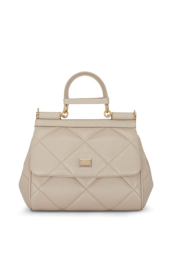 Dolce & Gabbana Sicily Beige Leather Essential Top Handle Bag