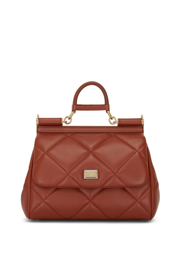 Dolce & Gabbana Sicily Cognac Leather Essential Top Handle Bag