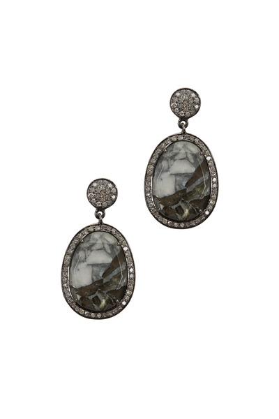 Loriann - Dalmatian Medium Mohave White Diamond Earrings