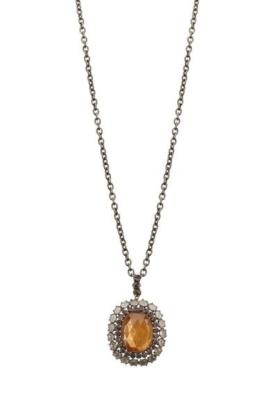 Loriann - Smokey Topaz Sunstone Pendant Necklace