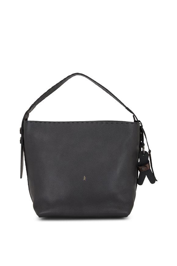 Henry Beguelin Margherita Anthracite Leather Medium Shoulder Bag