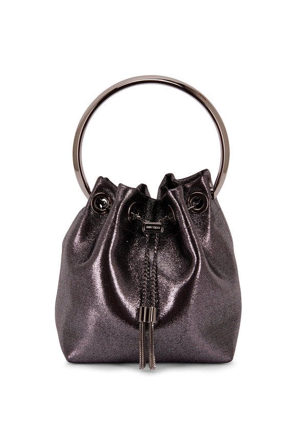 Jimmy Choo Bon Bon Gunmetal Metallic Leather Bucket Bag