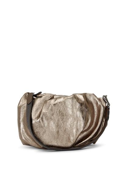 Brunello Cucinelli - Gold Metallic Crinkled Leather Monili Wristlet