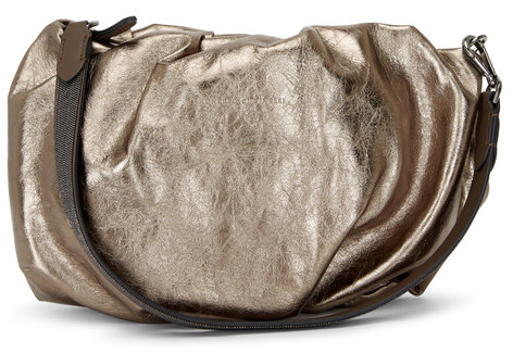 Brunello Cucinelli Gold Metallic Crinkled Leather Monili Wristlet