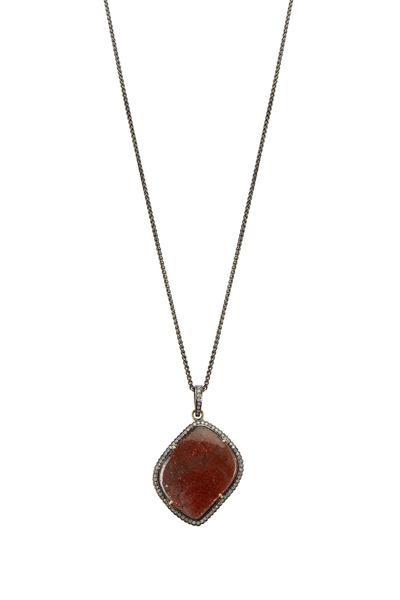 Loriann - Large Organic Sunstone & White Diamond Necklace