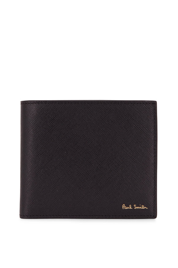 Paul Smith Black Leather Storefront Graphic Bi-Fold Wallet