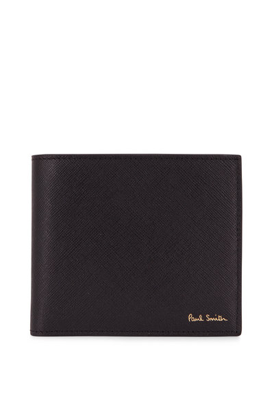 Paul Smith - Black Leather Storefront Graphic Bi-Fold Wallet