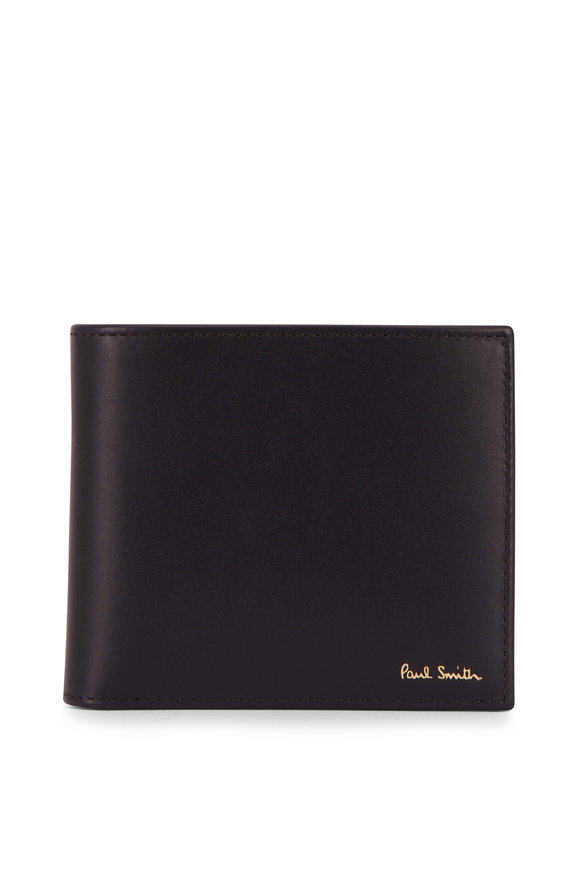 Paul Smith Black Leather Stripe Graphic Bi-Fold Wallet