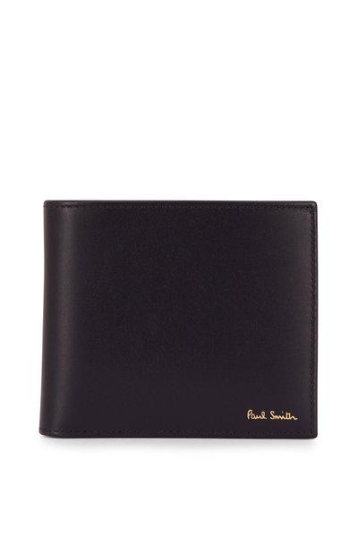 Paul Smith - Black Leather Stripe Graphic Bi-Fold Wallet