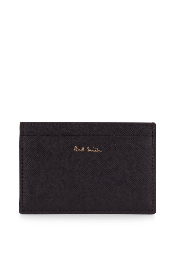 Paul Smith Black Grained Leather Storefront Graphic Card Case