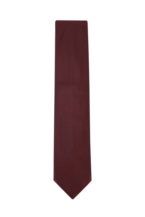 Brioni Red & Navy Textured Weave Silk Necktie