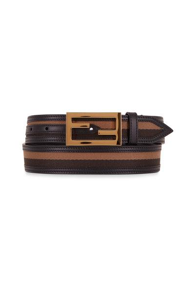 Fendi - Black & Brown Stripe Gold Logo Belt
